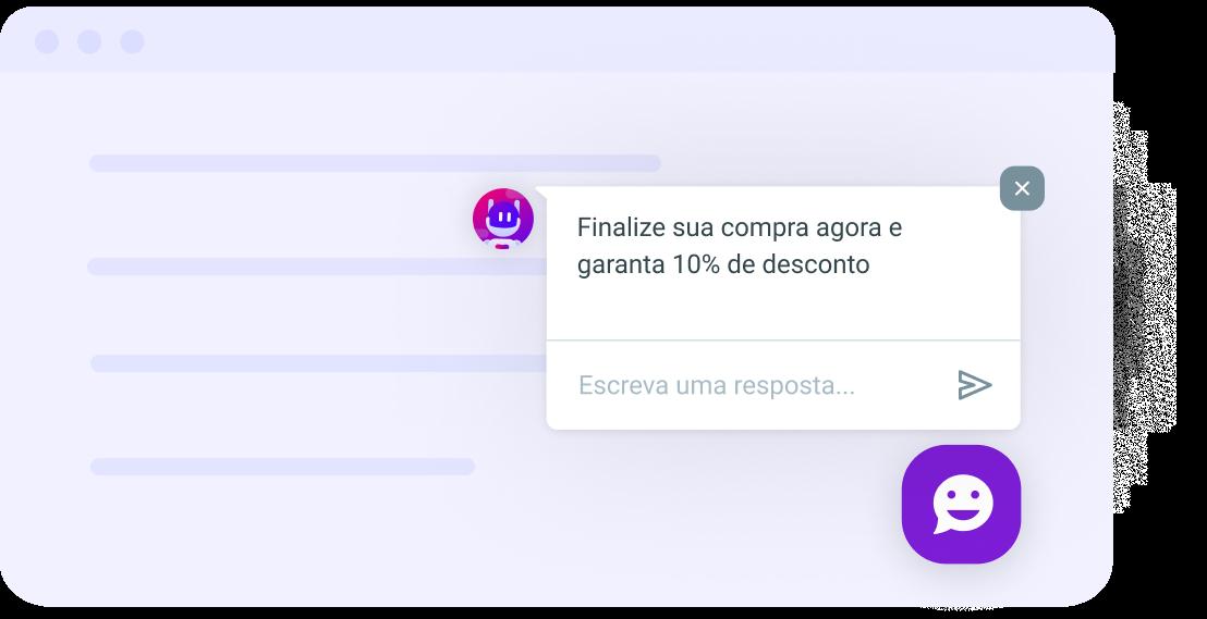 Exemplo de aplicação de chatbots incentivando o cliente a finalizar a compra.