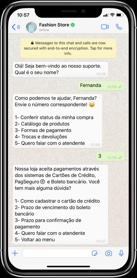 Chatbot em uma conta comercial do WhatsApp