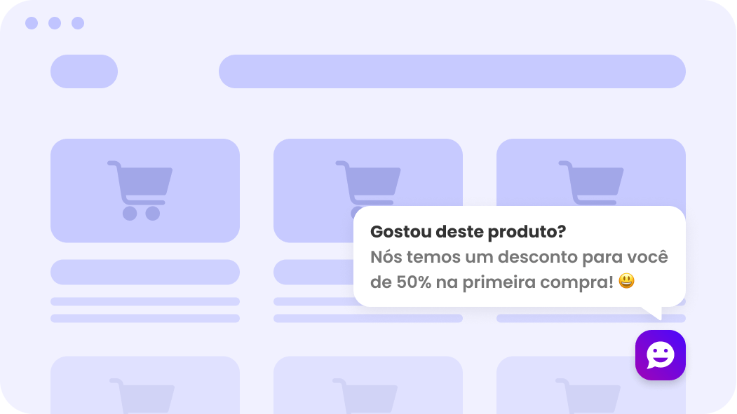 Abordagem proativa com chatbot no chat para site.