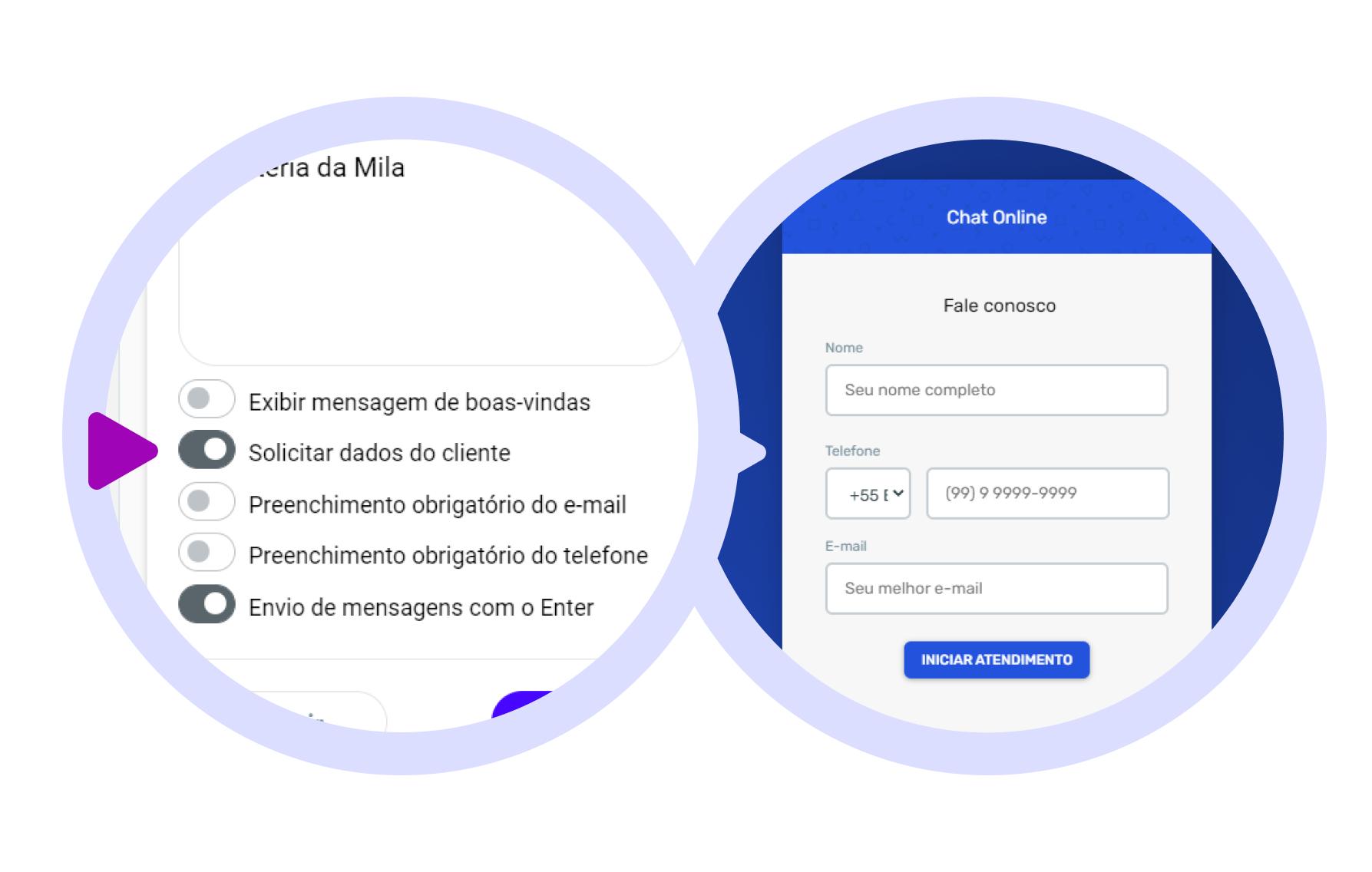 Com essa configuração você terá um banco de dados dos seus clientes