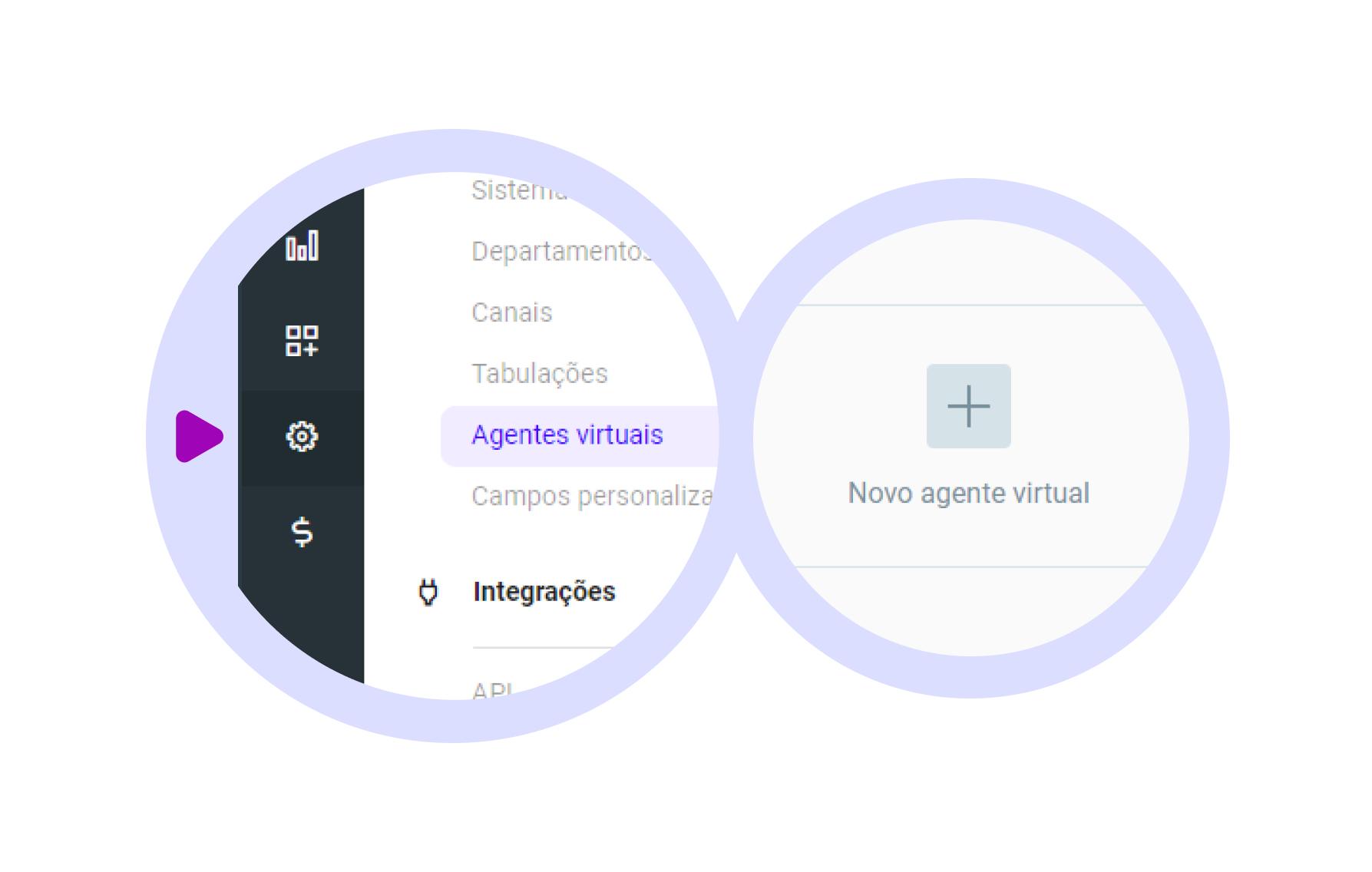 Defina seu Agente de atendimento virtual, para que ele interaja com seus clientes